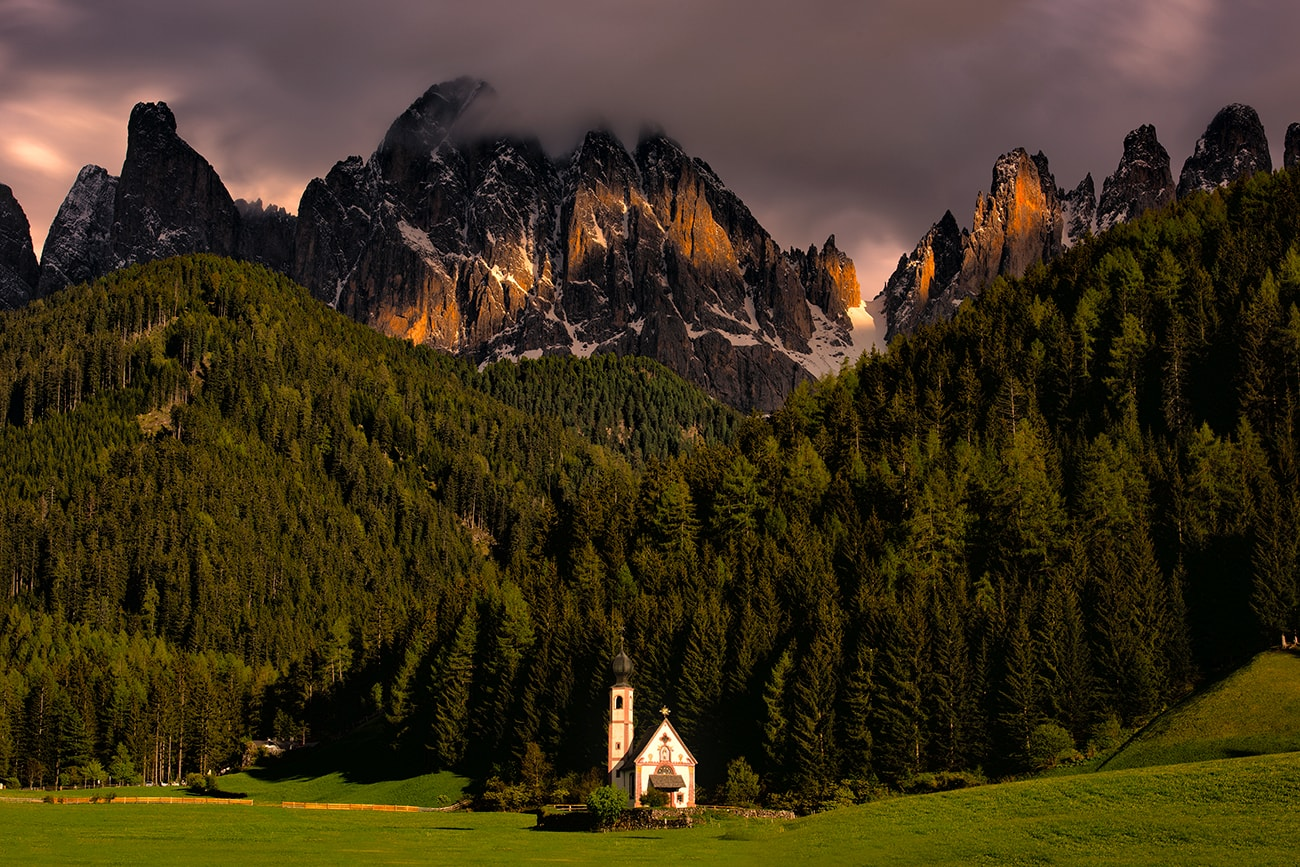 A Tiny Church in the Magnificent Dolomite Mountains